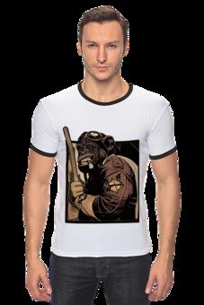 """Футболка """"Рингер"""" (Мужская) """"Evil  Monkey with bat"""" - арт, стиль, популярные, стильная, прикольные, оригинально, футболка мужская, обезьяна, креативно, бита"""
