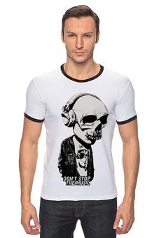 "Футболка Рингер ""Don't stop the music"" - музыка, skull, череп, music, наушники клубная, don't stop"