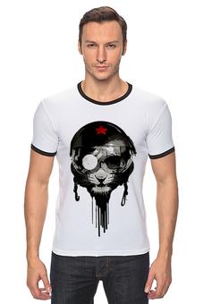 """Футболка Рингер """"Лев байкер - Leo biker"""" - арт, приколы, авторские майки, футболка, звезда, стиль, ссср, лев, прикольные, оригинально"""
