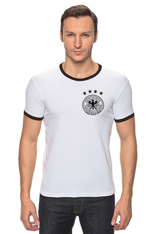 """Футболка """"Рингер"""" (Мужская) """"Сборная Германии по футболу 2016"""" - немецкий футбол, сборная германии по футболу, bundesteam, логотип сборной германии по футболу, mannschaft"""