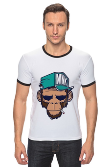 "Футболка ""Рингер"" (Мужская) ""MNK Style"" - style, обезьяна, monkey, cigarette, mnk"