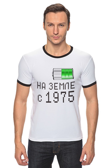 """Футболка Рингер """"на Земле с 1975"""" - на земле с 1975"""