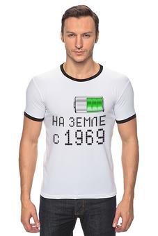 """Футболка Рингер """"на Земле с 1969"""" - на земле с 1969"""
