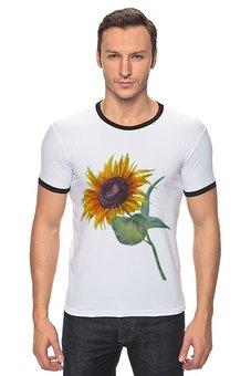 "Футболка Рингер ""Подсолнух"" - лето, цветок, солнце, акварель, подсолнух"