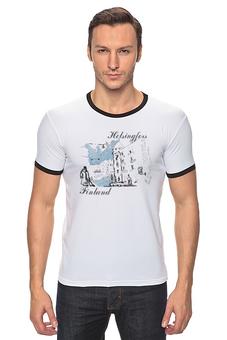 "Футболка Рингер ""Helsingfors"" - арт, рисунок, город, графика"