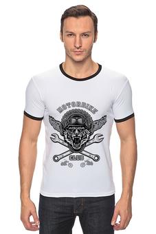 "Футболка Рингер ""Байкер"" - спорт, мотоцикл, тигр, байкер"