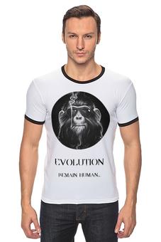 "Футболка ""Рингер"" (Мужская) ""evolution (1)"" - рисунок, эволюция, human, race, антропогенез"