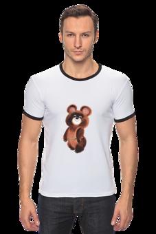 "Футболка Рингер ""Олимпийский мишка '80"" - футболка, медведь, олимпиада, olympics, 80's, мишка, олимпийский, олимпийский мишка"