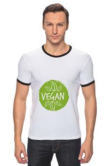 """Футболка Рингер """"Vegan"""" - природа, веган, vegan, go vegan, этика"""