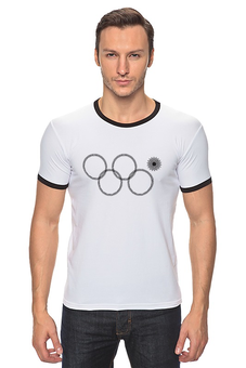 """Футболка """"Рингер"""" (Мужская) """"нераскрывшееся олимпийское кольцо"""" - олимпиада, 2014, сочи, олимпийские кольца, нераскрывшееся олимпийское кольцо"""