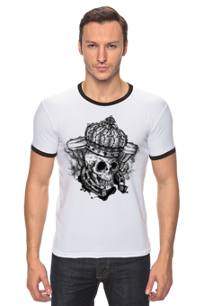 "Футболка Рингер ""Skull_crown style"" - авторские майки"