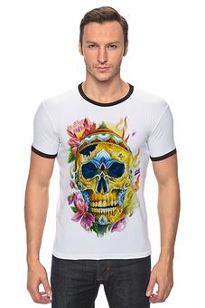 """Футболка """"Рингер"""" (Мужская) """"old school"""" - skull, авторские майки, стиль, мужская, улыбнись, прикольные, в подарок, оригинально, футболка мужская, парню"""