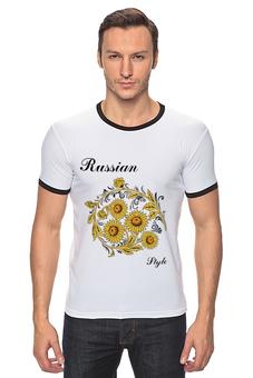 "Футболка Рингер ""Russian Style"" - русский стиль, russian style, россия, russia"