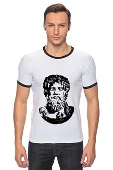"""Футболка Рингер """"Зевс (Zeus)"""" - арт, черно-белое, мифы, zeus, древняя греция"""