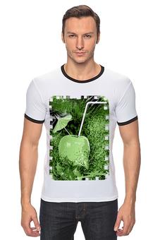 """Футболка Рингер """"Яблочный микс"""" - напиток, абстракция, яблоко, фрукт, натюрморт"""