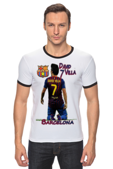 "Футболка ""Рингер"" (Мужская) ""Cesare-FC Batcelona 5"" - футболка мужская, barcelona, david villa"