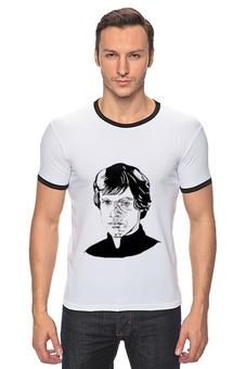 """Футболка Рингер """"Люк Скайуокер"""" - рисунок, star wars, чёрно-белый, люк скайуокер, кино персонаж"""