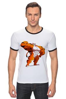 """Футболка """"Рингер"""" (Мужская) """"Фитнес тигр"""" - спорт, фитнес, тигр, пауэрлифтинг"""