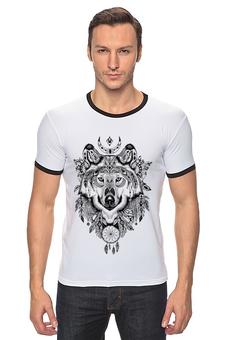 """Футболка Рингер """"Тотем. Волк"""" - графика, волк, тотем"""