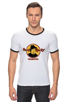 "Футболка Рингер ""Hard Rocky"" - бокс, кино, боксер, сталлоне, рокки"