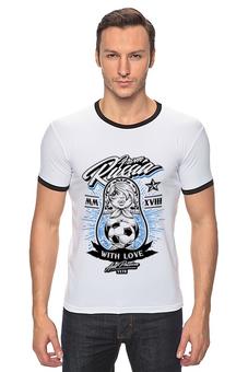 """Футболка Рингер """"Футбол"""" - футбол, спорт, матрёшка"""