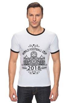 """Футболка Рингер """"Футбол"""" - футбол, спорт, матрёшка, 2018"""