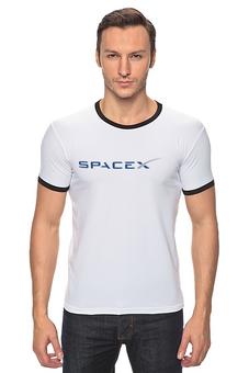 "Футболка Рингер ""SpaceX"" - космос, вселенная, thespaceway, spacex, маск"