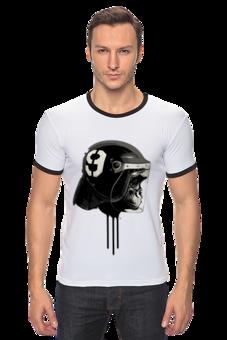 """Футболка Рингер """"Обезьяна Байкер - Monkey Biker """" - арт, авторские майки, футболка, стиль, популярные, мужская, в подарок, футболка женская, мотоциклы, креативно"""