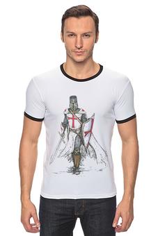"Футболка Рингер ""тамплиеры"" - knights templar, тамплиеры, храмовники, бедные рыцари христа, рыцарский орден"