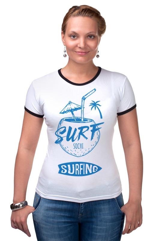 Футболка Рингер Printio Сочи серфинг куплю дом с пропиской и небольшим бизнесом в сочи