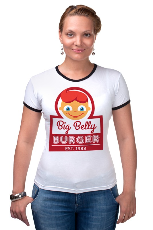 Футболка Рингер Printio Big belly burger хочу автомат для продажи фаст фуда