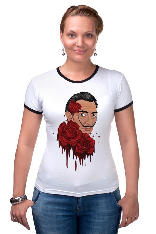 Футболка Рингер Printio Сальвадор дали и розы. сумка printio сова сальвадор дали суперсова goofi