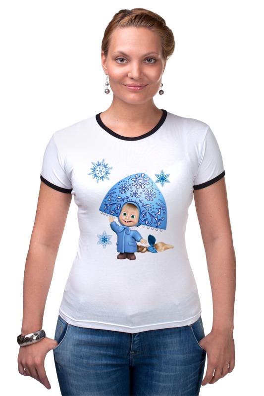 Футболка Рингер Printio Снегурочка девочка маша из мульта. смешная