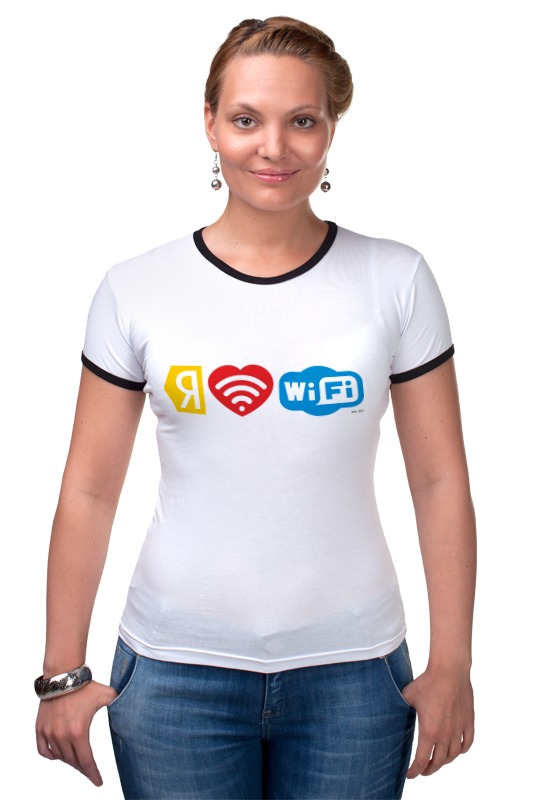 Футболка Рингер Printio I love wi-fi wi fi ������������
