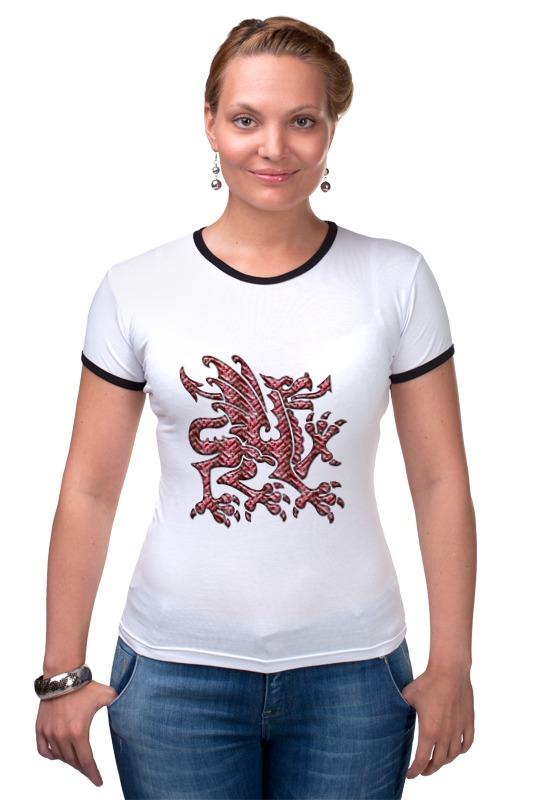 Футболка Рингер Printio Дракон шелковый дракон
