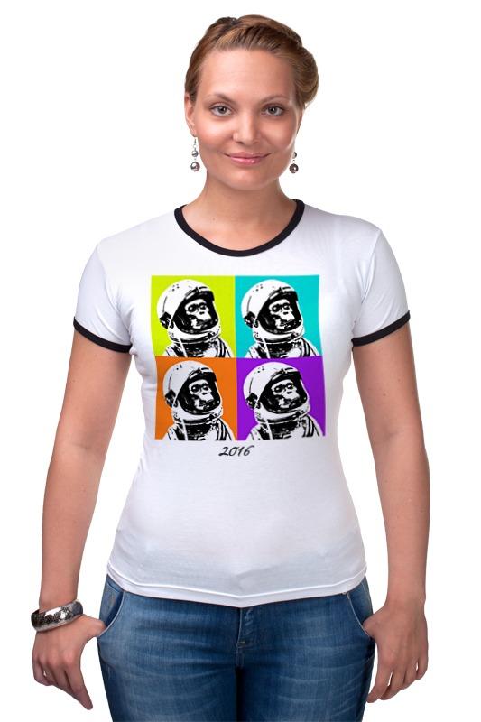 Футболка Рингер Printio Обезьяна космонавт футболка рингер printio королева обезьяна