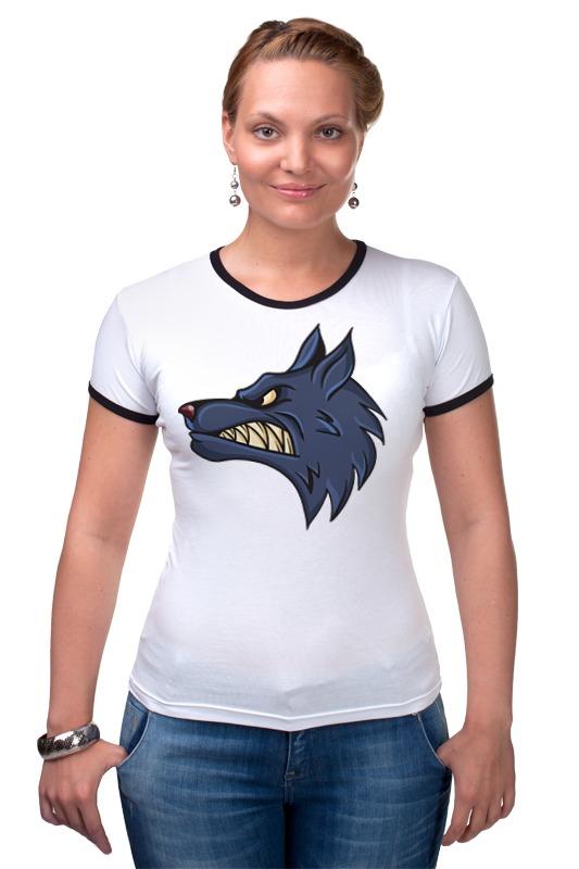 Футболка Рингер Printio Angry wolf