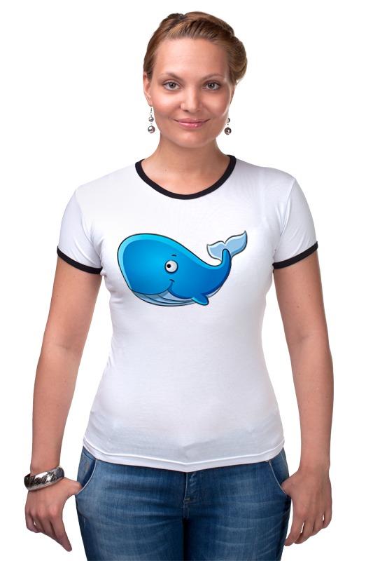 Футболка Рингер Printio Голубой морской кит-кашалот футболка wearcraft premium slim fit printio голубой морской кит кашалот