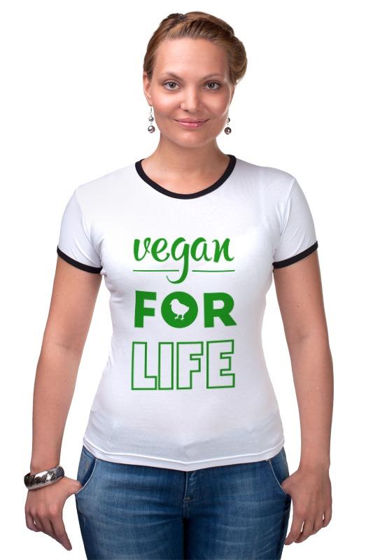 Футболка Рингер Printio Vegan for life отсутствует природные ресурсы и окружающая среда