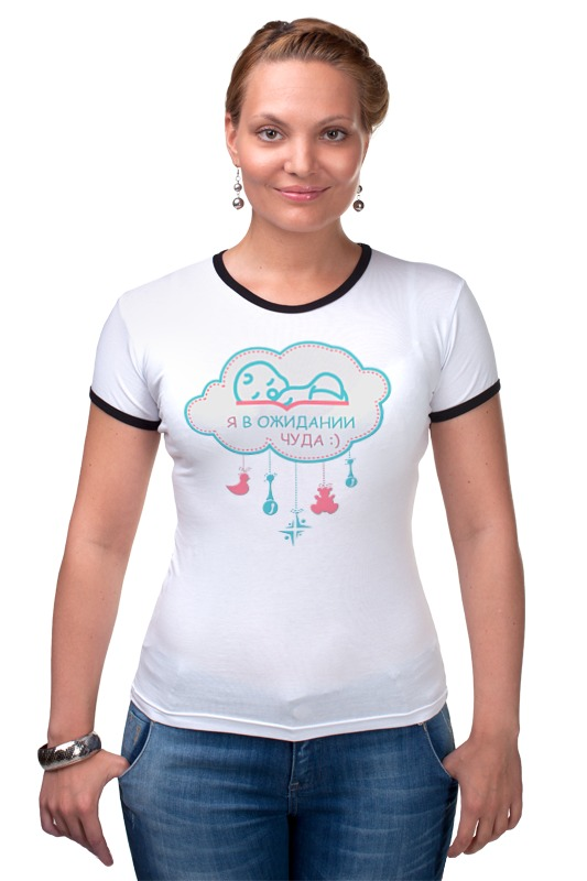 Футболка Рингер Printio Я в ожидании чуда :) футболка для беременных printio в ожидании чуда