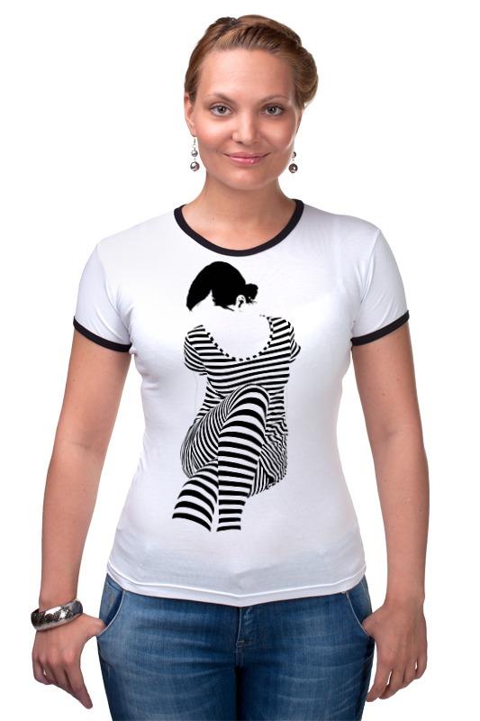 Футболка Рингер Printio Белая,стильная,с рисунком,чайки,полосатая девушка футболка белая с рисунком catimini ут 00011632
