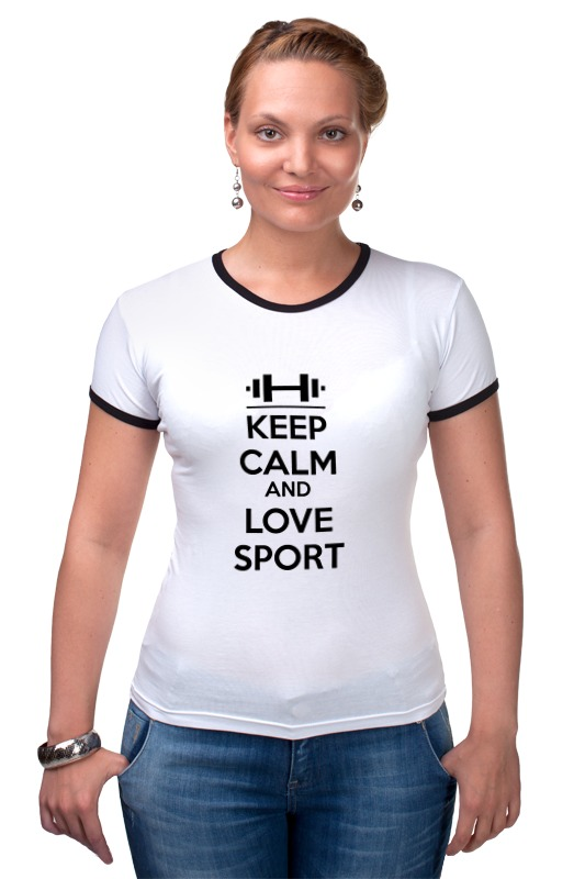 Футболка Рингер Printio Keep calm and love sport подушка printio йога keep calm