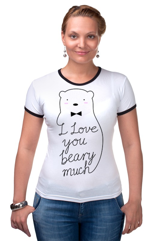Футболка Рингер Printio I love you beary much guess how much i love you colours