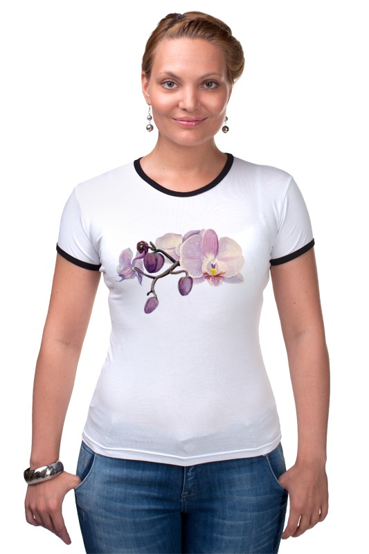Футболка Рингер Printio Ветка орхидеи орхидеи фаленопсис челябинск питомник