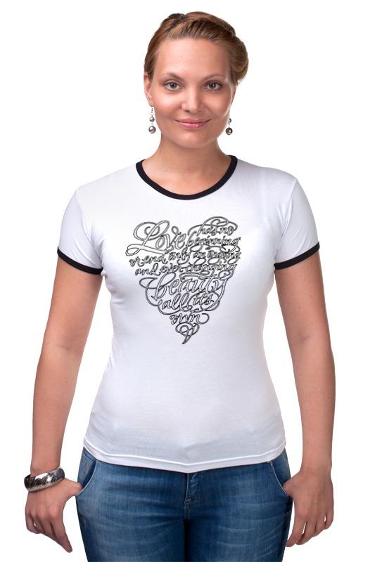 Футболка Рингер Printio Love lettering (сердце с надписью) майка print bar love lettering