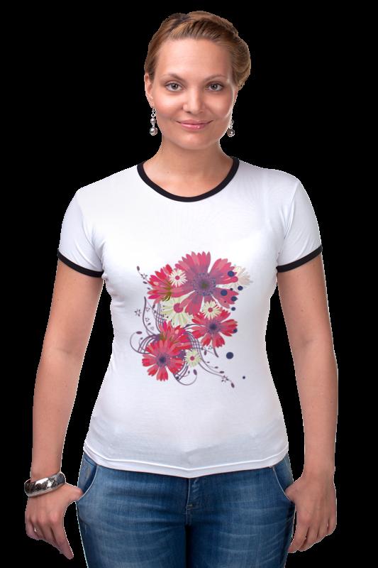 Футболка Рингер Printio Flowers feron 25127