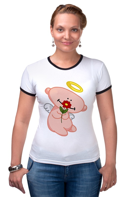 Футболка Рингер Printio Ангел с цветком анатолий ярмолюк поспорил ангел с демоном