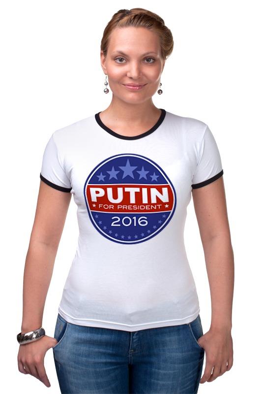 Футболка Рингер Printio Путина в президенты америки (2016) чехол для iphone 6 глянцевый printio путина в президенты америки 2016