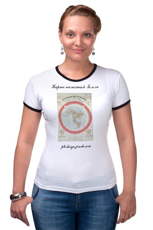 Футболка Рингер Printio Карта плоской земли