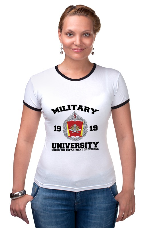 Футболка Рингер Printio 2016 военный университет мо рф (белая) погоны парадные мо вс в калуге